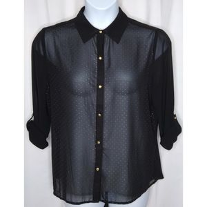 CHICO'S EMB SHEER BLK BLOUSE 12